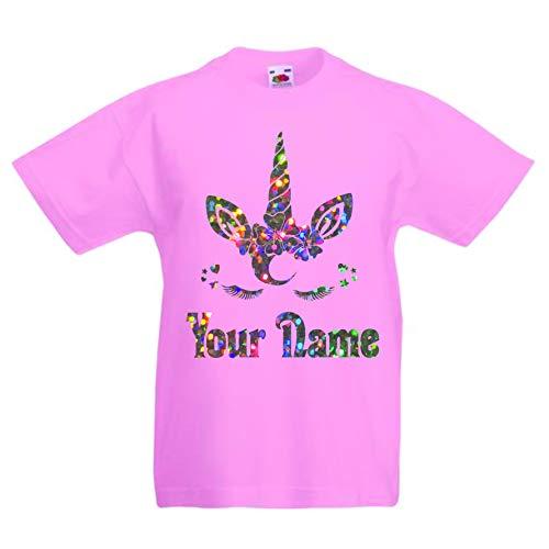 Print my tee, maglietta con unicorno, personalizzabile, per compleanno e ragazza, con glitter, età 2-3 a 12 – 13 anni rosa 5-6 Anni