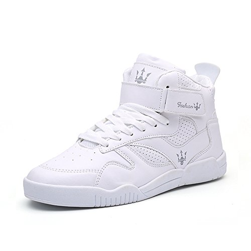 MUOU Zapatos de hombre de moda, zapatos planos, zapatos de tacón alto para el tiempo libre, color Blanco, talla 43 EU