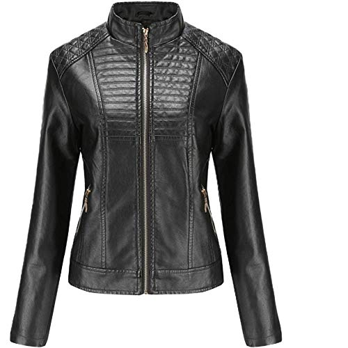 Morton PegfwaS Damen Lederjacken, Damen Lederjacken, Casual Frühjahr und Herbst Mäntel, einfarbige Motorrad Lederjacken