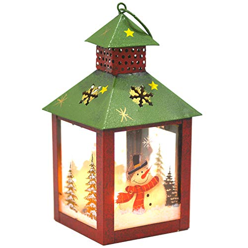 I GO Christmas Candle Lantern Decoration - Santa Decorative Candle Holder, Rustic, Hand Painted Metal and Glass - Table Centerpiece or Hanging Lantern Holder, Christmas Home Decorations, Red