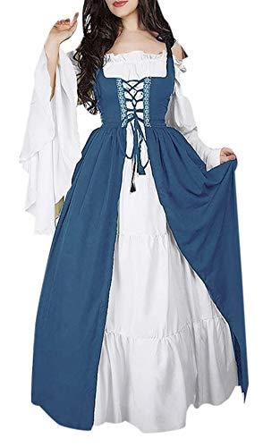 Vestito Medievale Donna Lungo Vintage Swing Abito Irlandese Vestiti Spalle Scoperte Maniche Lunghe Halloween Carnevale Cosplay Costume Abiti Rinascimentali Travestimento Strega Vampiro Diavolo Regina