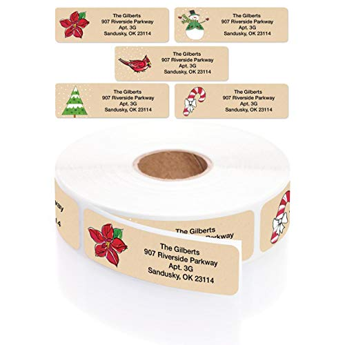 Christmas Kraft Designer Assorted Rolled Address Labels with Elegant Plastic Dispenser