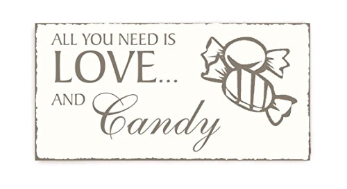 SCHILD Dekoschild « All you need is Love and CANDY » Vintage houten bordje snoepgoed kinderen kleuterschool thuis accesoirs