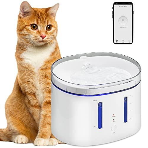 Viugreum WiFi Smart Trinkbrunnen Katzen, 2,5 L Trinkbrunnen für Katze Wasserstandssensor, Filterwatte, Wasserspender mit Zeitsteuerung, APP Wasserbrunnen Springbrunnen Spender für Katzen Hunde