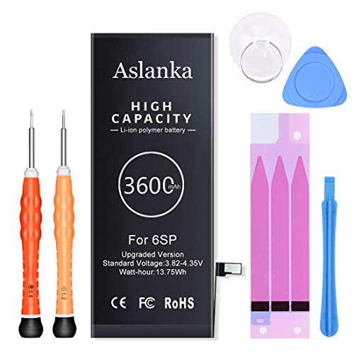 Aslanka Battery for iPhone 6S Plus, New 3600mAh Super High Capacity Battery Replacement 0 Cycle, with Professional kit and Instructions (Enhanced)-24 Months Warrant