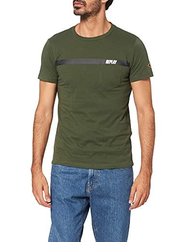 REPLAY M3426 .000.2660 Camiseta, 432 Dark Military, S para Hombre