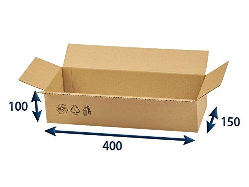 25 x Versandkartons (Faltschachteln, Faltkarton, Wellpappkarton, Wellpappfaltkarton, Kartons), 3-Sicht, 400x150x100mm