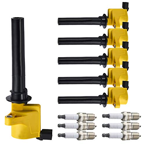 ENA Set of 6 Platinum Spark Plug and Heavy Duty Ignition Coil Pack Compatible...