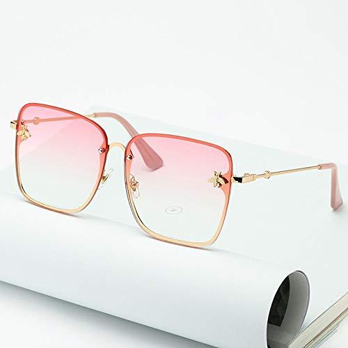 Modische Sonnenbrillen Oversize Rimless Square Bee Sonnenbrillen Frauen Brand Fashion Kleine Biene Gradient Sonnenbrille Weiblich Uv400 C7