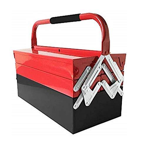 Amazing Tour Leer Montage Werkzeugkasten, Klappbarer Werkzeugkasten aus Stahl,Bequem zum Trägen von Haushaltswerkzeugen,3 Schichten 5 Fächer