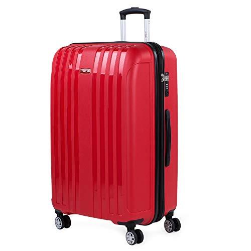 ITACA - Maleta Grande expandible para Viaje rígida con 4 Ruedas Dobles Fabricada en Polipropileno con Cerradura TSA, Ligeras y s 760270, Color Rojo