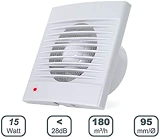 Ventilador Extractor de baño 15W aire 159X81X159H mm Silencioso con válvula anti mosquitera integrada, 180 m3/h,Ideal para baño cocina inodoro oficina