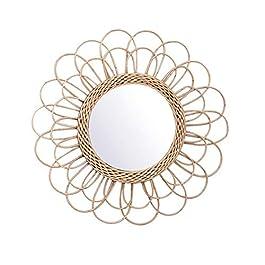 Miroir rond en rotin pour coiffeuse – Art déco innovant – Idéal pour le couloir, le salon, la chambre à coucher