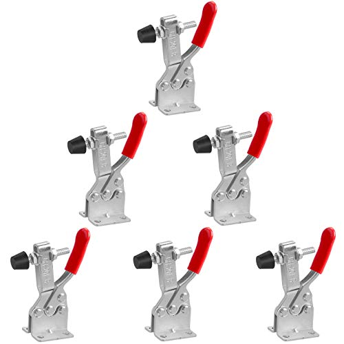 chfine Hold Down Toggle Clamps Latch Antislip Red Hand Tool Holding Capacity Antislip Horizontal Heavy Duty Toggle Clamp 201-B 220lbs Quick Release Tool(6 pack)