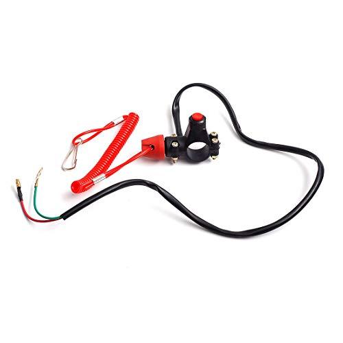 con cord/ón de amarre W//Tether Interruptor de parada del motor Universal interruptor de bot/ón de parada de motor de emergencia para Motocicleta//Cortadoras de c/ésped