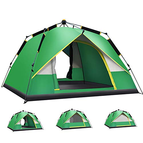 Tente de Vacances Dome Type de Rotation Automatique 4-6 Personnes Portable Anti-UV Ventilation 2 Portes Tentes de Camping familiales Système Quick Up Installation Facile Sac de Transport Compact