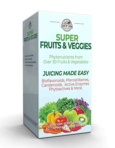 Country Farms Super Fruit and Veggies Capsules, 30 Fruits and Vegetables, 30 Servings, 60 Count (Pack of 1)