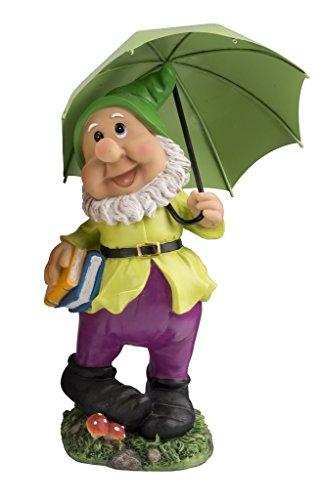 Großer Gartenzwerg mit dunkelgrünem Schirm und Mütze 38,5 cm bunte Zwerg Figur für Haus und Garten Gnom Schirm Grün Dunkelgrün
