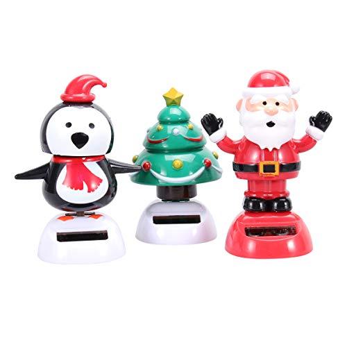 Amosfun 3pcs Solar Dancing Toys Bobble Head Toy Christmas Santa Christmas Tree Penguin Dancing Figure Toy Car Dashboard Decorations Ornaments Christmas Party Supplies Favors