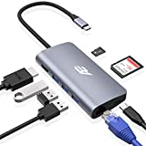 USB C Hub, Audlin 8 in 1 USB Type C Hub Adapter, to 4K HDMI, 3 USB 3.0 Port, 1 USB C Charging, SD/Micro SD/TF Card Reader, Gigabit Ethernet, for MacBook Pro, iPad Pro 2018 and More