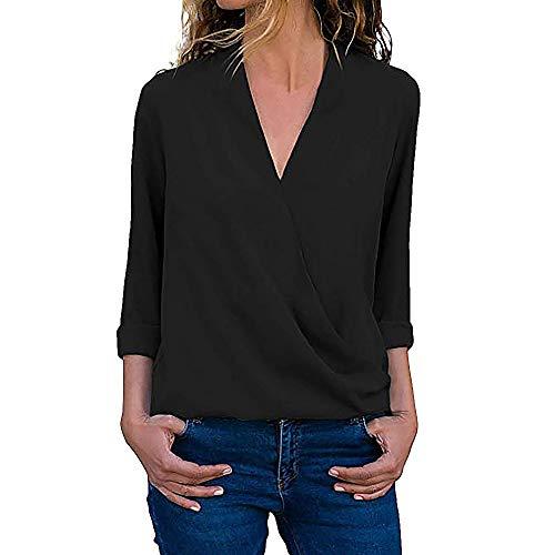 OSYARD Damen Sexy Farbe V-Ausschnitt Sweatshirt Plus Größe Lose, Frauen Casual Wrap V-Ausschnitt Roll Up Langarm Solid Blusen Shirt Tops Tunika Pullover (XL, Schwarz)