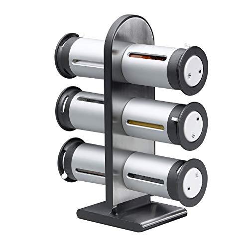 Zevro Gewürzständer, pulverbeschichtetes Metall, magnetisch, 6 Dosen, silberfarben/Grau