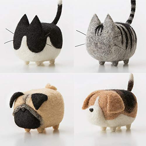 Truslin - DIY Needle Felting Kit with Gift Box Faceless Cat and Dog - Tuxedo Cat,American Shorthair,Pug and Beagle - 4 in 1 Kit