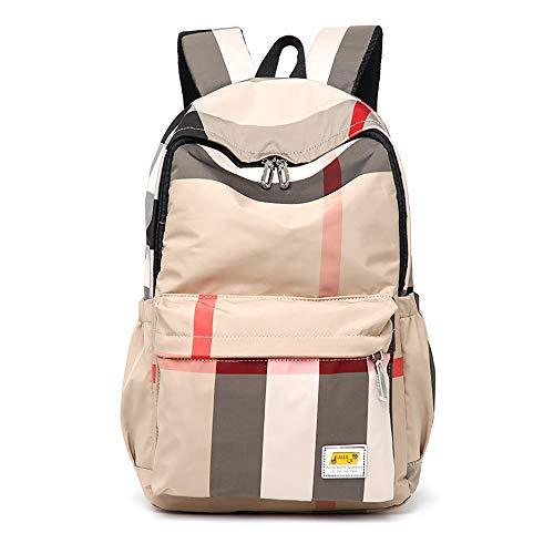 Sacs à dos d'école imperméables, sacs d'école en treillis Sacs d'étudiant de grande capacité pour adolescents Campus universitaire Voyage Camping Sacs à dos Sac à dos décontracté-brown