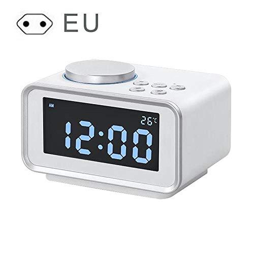 Renqian LED-wekker, digitaal, sterk, voor zware slapers, met helderheid, dimmer dual alarm, 2 USB-poorten Blanc-ue