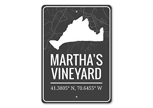Martha's Vineyard, Coordinates Destination Sign, Island Outline Aluminum Sign - 36' x 54'