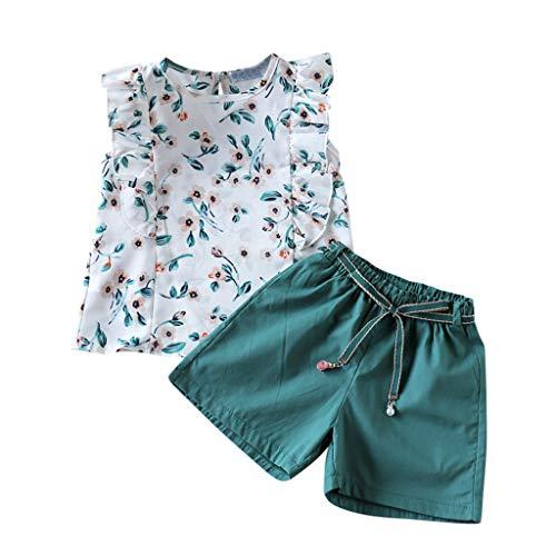 Moneycom❤Toddler Kids Baby Girls Fashion Floral Vest Tops + Solid Shorts Outfits Set Vert(5-6 Ans)
