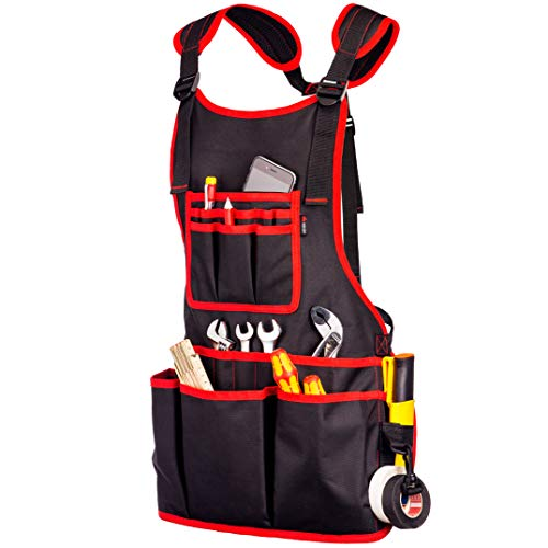 NoCry Heavy Duty Work Apron - 26 Tool Pockets, Tape Measure Holder, D...
