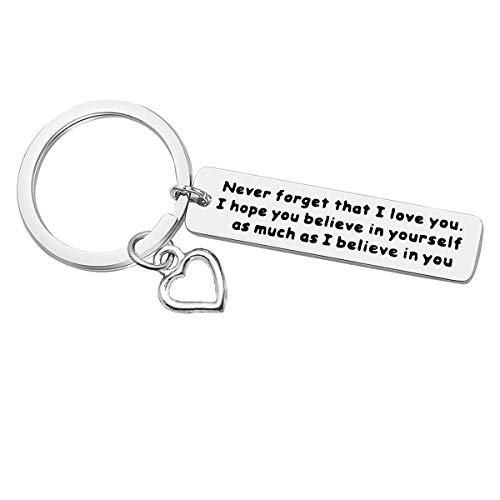 Inspirational Keychain for Son Daughter Encouragement Gift Believe In Yourself Keychain Back to School Graduation Birthday Halloween Christmas Gift for Son Daughter, Stainless Steel Key Chain