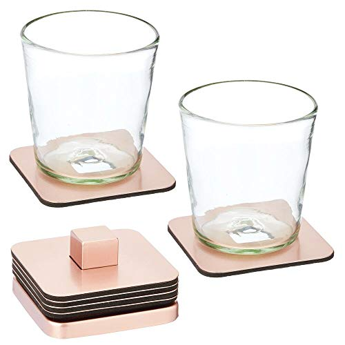 mDesign Stainless Steel Square Coaster Set with Holder for Dry Bar, Table, End Table, Kitchen, Living Room, Set of 6 - Rose Gold