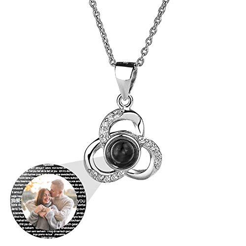 100 I Love You Projection Photo Necklace 925 Silver Charm Jewelry Custom Mother's Day Birthday Valentine's Anniversary Ideal for Lovers Friends(Silver1 16)
