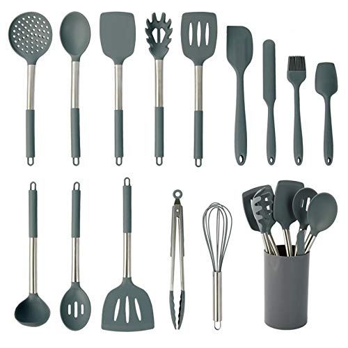 Silicone Cooking Utensil Set, coltd 15 Piece Silicone Utensil Set, Heat Resistant Non-stick Pan Silicone Stainless Steel Handle Without BPA Turner Spatula Spoon Egg Beater Tongs Whisk Cookware (Gray)