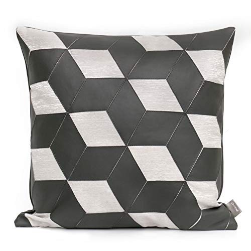 Cushion Covers Geometric Pattern Leather Splice Bedroom Sofa Decoration Square Pillowcase Dark Grey 45X45Cm Without Core