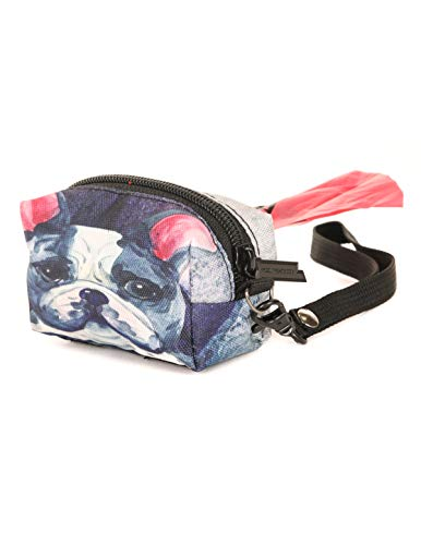 poopyCUTE- Doggy Poop Waste Bag Dispenser for Fashionably Cute Owner and Dog Breed,Puppy Supply|Women Luxury Fashion Style, On Leash Holder Clip for Bag/Travel/Walking/Treat/Key:French Bulldog