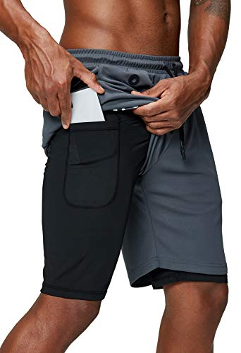 Pinkbomb Men's 2 in 1 Running Shorts Gym Workout Quick Dry Mens Shorts with Phone Pocket (Grey, Large)