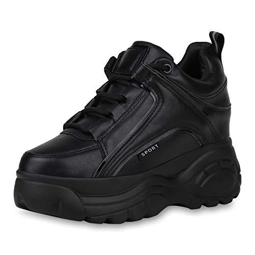 SCARPE VITA Damen Sneaker Wedges Keilabsatz Schuhe Plateau Turnschuhe Keilsneaker Metallic Lack Plateauschuhe Profilsohle 187322 Black Schwarz 38
