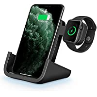 Yuwiss 2 in 1 Dual Wireless Charging Dock Station with iWatch Stand