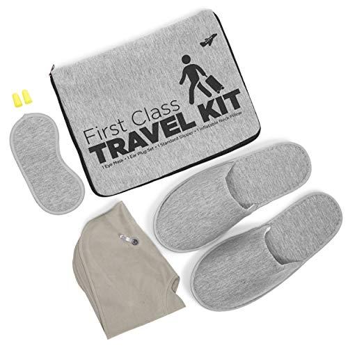 5-teiliges graues Reisekit, aufblasbares Kissen, Ohrstöpsel, Hausschuhe, Schlafmaske, Tasche