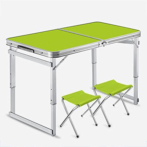 Combinación de muebles de mesa y silla portátiles para exteriores, mesa y silla de picnic plegable sin instalación, mesa de camping retráctil ajustable de tres etapas, mesa de aluminio para maleta c
