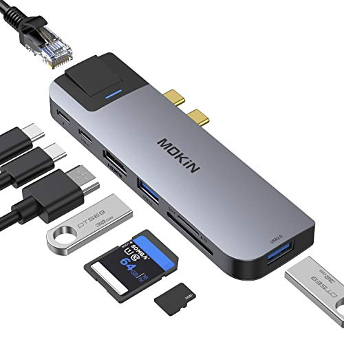 MOKiN USB C Hub für MacBook Pro 2020/2019/2018, MacBook Air 2020/2019/2018, 8 in 2 USB C Multiport Adapter mit Thunderbolt3 Port, 4K@30Hz HDMI, RJ45 Gigabit Ethernet, USB 3.0, SD/TF Kartenleser