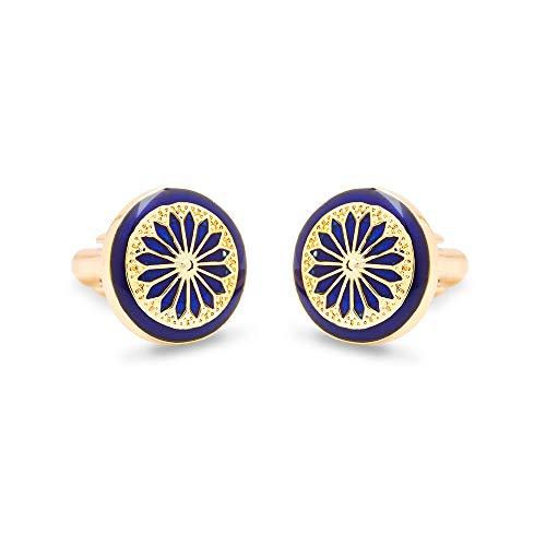 Rosec Jewels Art Deco Manschettenknöpfe, vergoldete Manschettenknöpfe aus Messing, emailliertes blaues Rad, Vater der Braut, Geburtstagsgeschenk für Herren