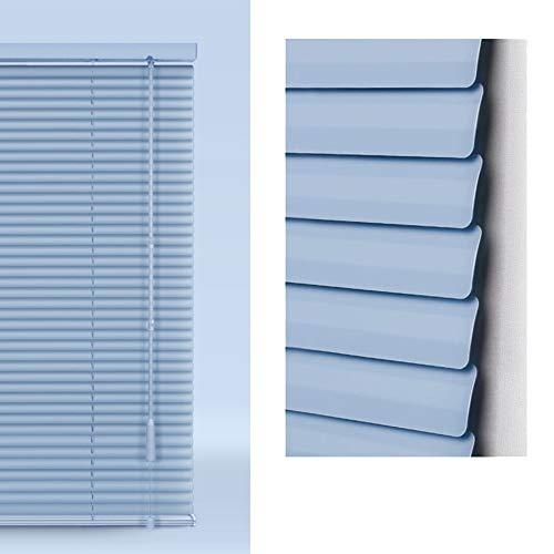 Persianas venecianas Metal Azul De Aluminio con Cordón De Tiro - Listón De Fácil Ajuste para La Oficina En El Hogar para Sujeción, Privacidad, Protección contra Luz Y Deslumbra