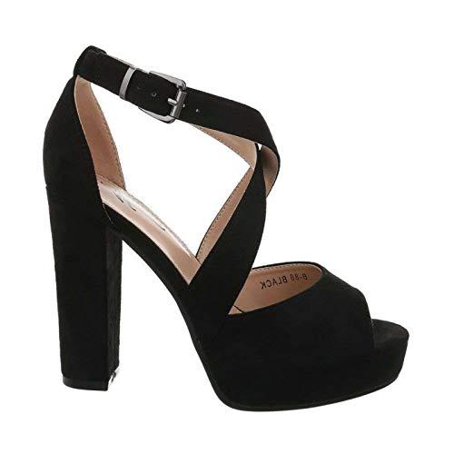 Damen Riemchen Abend Sandaletten High Heels Pumps Slingbacks Velours Peep Toes Party Schuhe Bequem B67 (36, Schwarz)
