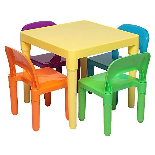 Luorizb Kinder-Schreibtisch Hocker Set for Vorschulkinder Jungen und Mädchen Aktivität Bauen & Play Tisch Stuhl Set, EIN Schreibtisch und Vier Stühle
