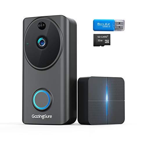 GazingSure Videocitofono WiFi, telecamera di sicurezza domestica wireless Alexa 1080P FHD con carillon interno, installazione semplice, rilevamento umano, audio a 2 vie