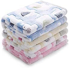 1 Pack 3 Blankets Super Soft Fluffy Premium Cute Elephant Pattern Pet Blanket Flannel Throw for Dog Puppy Cat Blue/Pink/Yellow Small